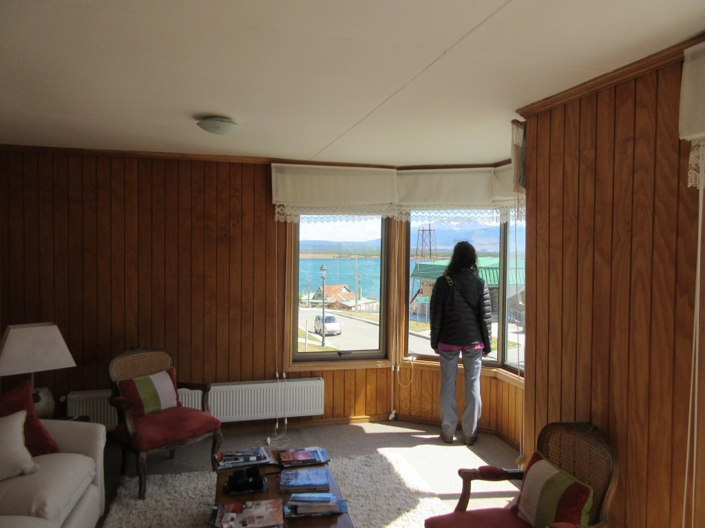 common space at Keoken Patagonia B&B, with a view of the Ultima Esperanza sound