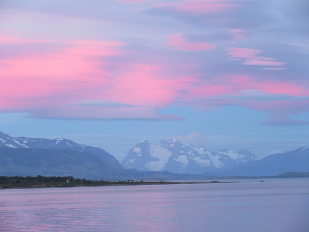 Puerto Natales, Last Hope Sound at sunrise